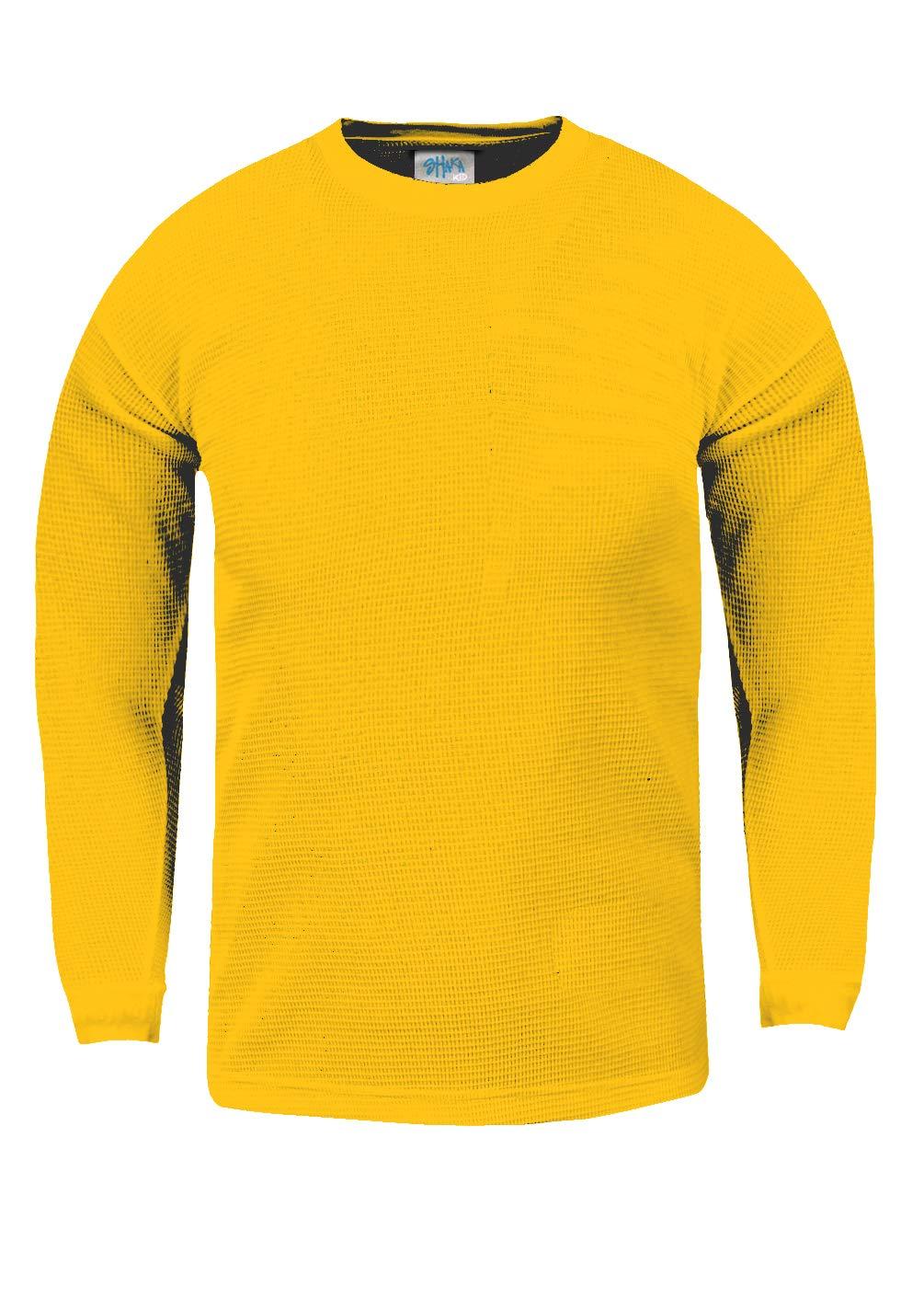 Shaka Wear KTC16_XS Thermal Long Sleeve Crewneck Waffle Shirt Yellow XS by Shaka Wear