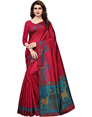 Kanchnar Women's Art Silk Printed Saree with Unstitched Blouse