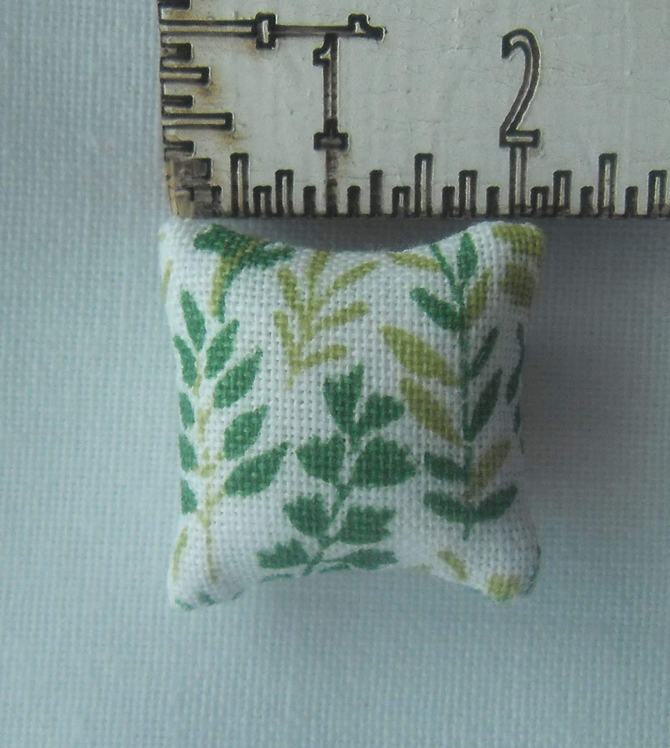 1//24th Scale Dolls House Fern Pattern Cushions in Shades of green