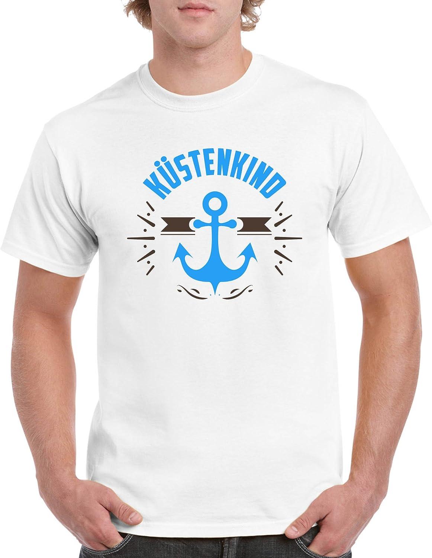 Herren T-Shirt Kurzarm Top Basic Print-Shirt Comedy Shirts 100/% Baumwolle K/üstenkind Anker Rundhals