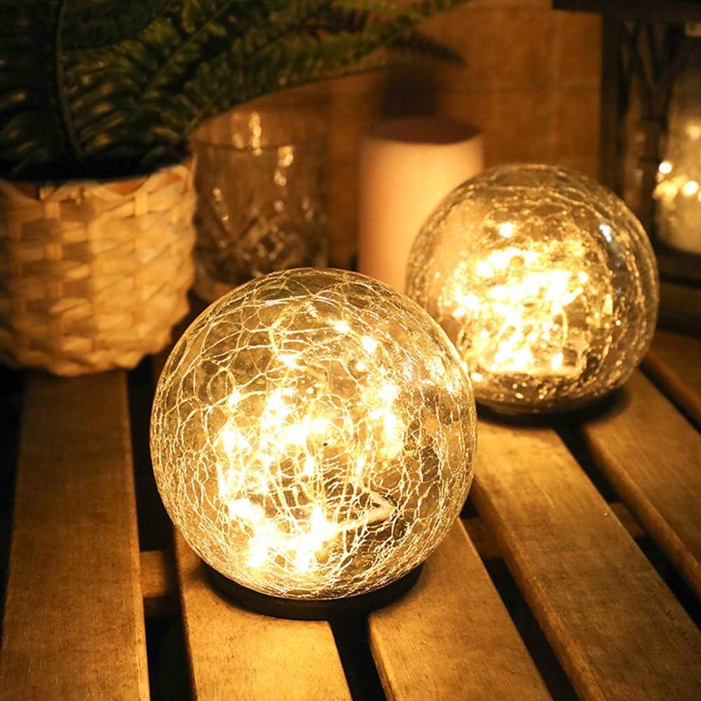 Solar Crackle Glass Ball Light Garden Landscape Lantern Light White LED Crack