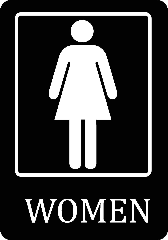 Womens cartel grande de baño negro - 12 x 18 baño signos ...