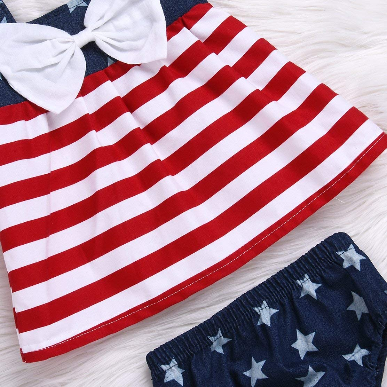 Newborn Baby Girls 4th of July American Flag Print Sleeveless Dress+Shorts Bottom Matching Outfits Set