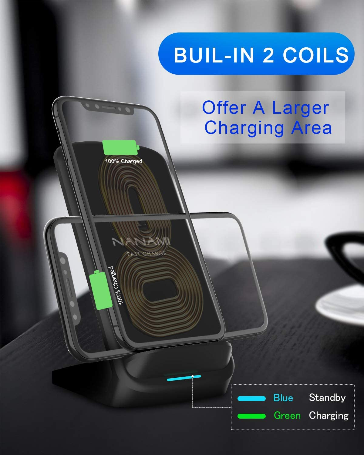 NANAMI Fast Wireless Charger,10W Qi Wireless Charging Stand with QC3.0 Adapter for Samsung Galaxy S10//S10+//S10e//S9//S9+//S8//S8+//Note 10//10+,7.5W Compatible with iPhone 11//11 Pro//11 Pro Max//X//XS//XR//XS Max//8//8 Plus
