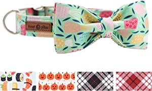 Lionet Paws Soft Cotton Bowtie Dog Collar with Metal Buckle Adjustable Collars for Dogs and Cats