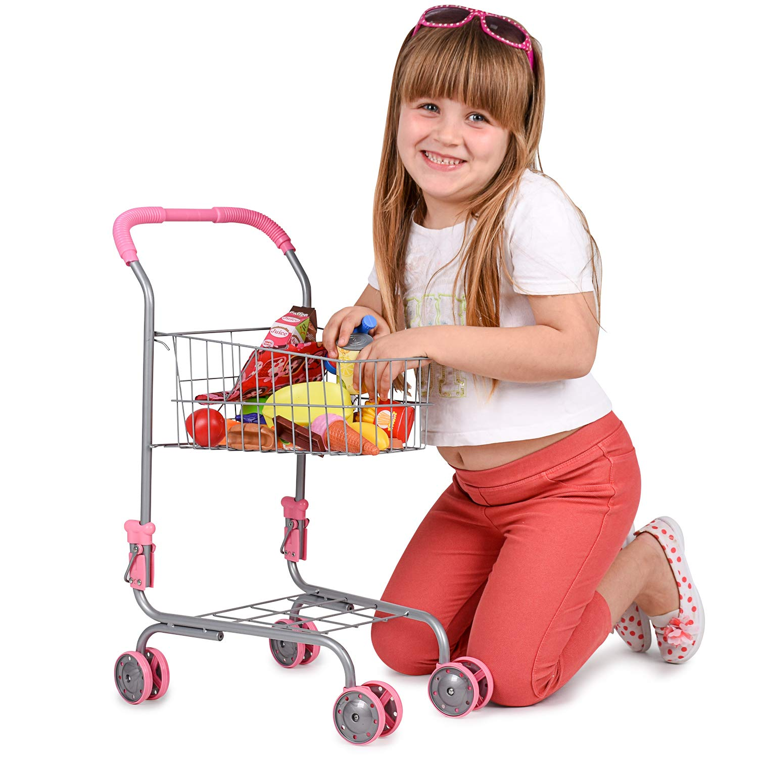 Abco Tech Pretend Play Children's Toy Shopping Cart – Ideal Grocery Cart Trolley for Toddlers & Kids – Easy to Pretend Shop with Included Toy Grocery or Food Items