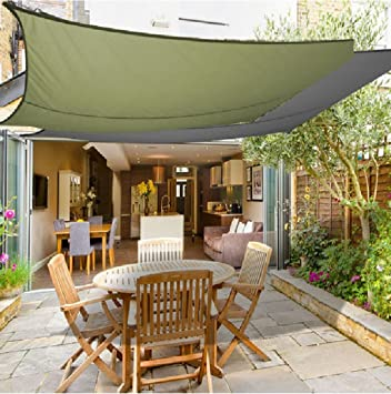 Garden Sun Shade Sail Canopy 3 x 3m Square Waterproof Anti-UV Canopy Awning & Garden Sun Shade Sail Canopy 3 x 3m Square Waterproof Anti-UV ...