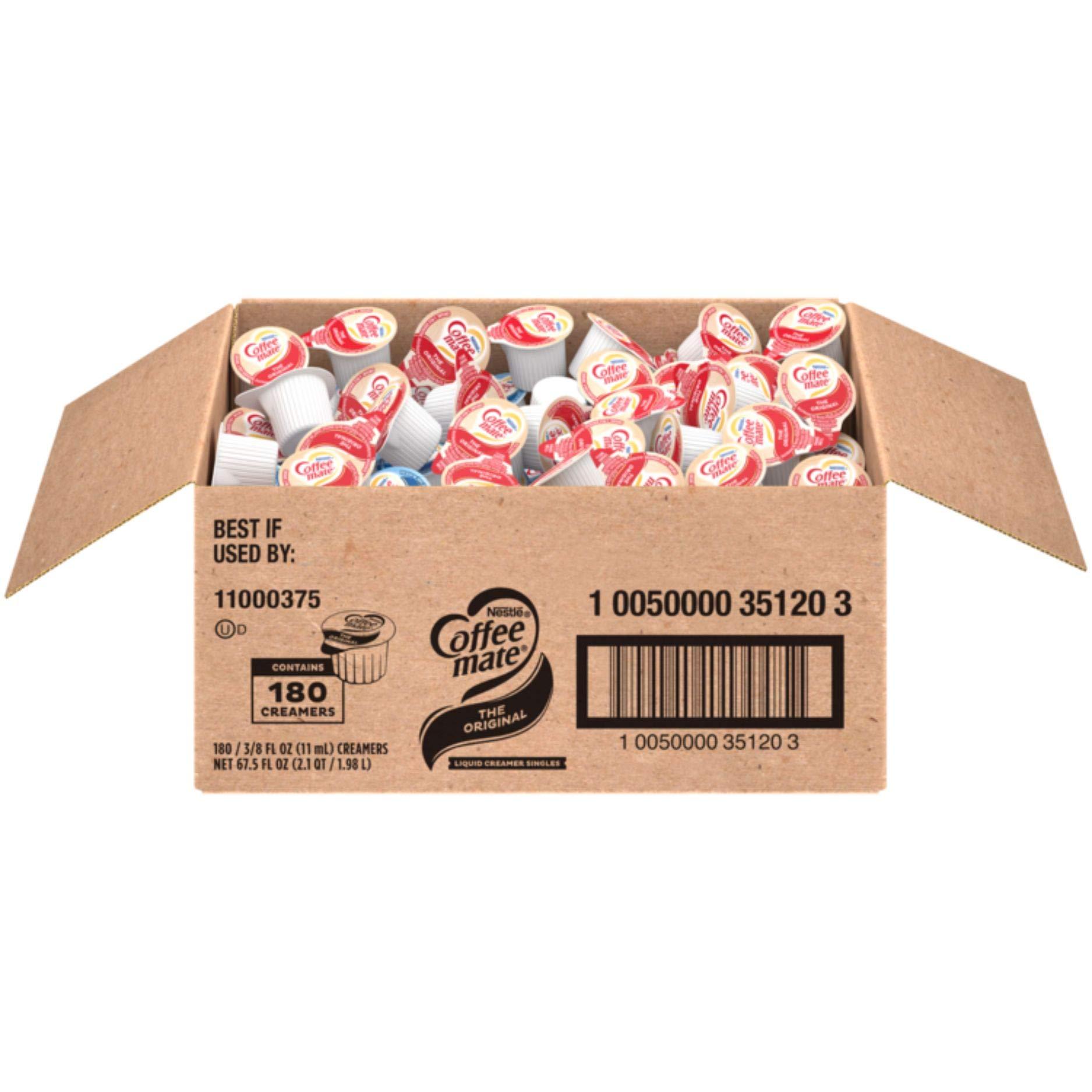 Nestle Coffee mate Coffee Creamer, Original, Liquid Creamer Singles, Non Dairy, No Refrigeration, Box of 180