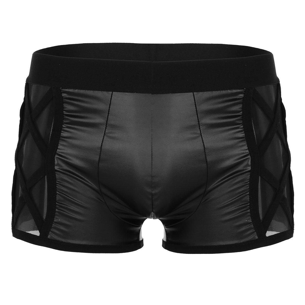 FEESHOW Men's Faux Leather Bulge Pouch Boxer Shorts Briefs Underwear Pants