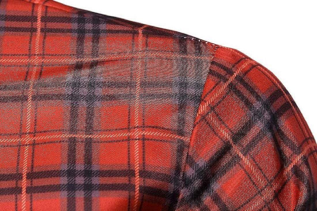 Jotebriyo Mens Plaid Long Sleeve Slim Button Down Business Casual Dress Shirt