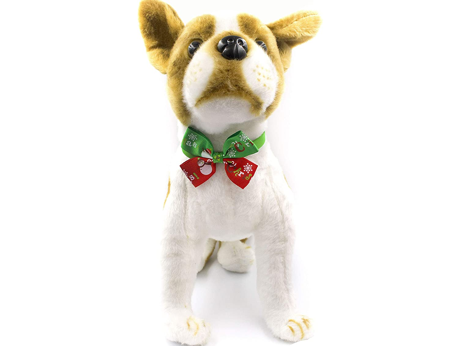AXEL PETS Dog and Cat Bow Tie Holiday Christmas Adjustable Collar with Snowflakes & Snowman Theme