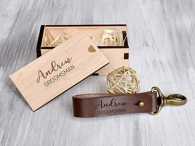 Personalized Keychain Groomsmen Keychain Groomsmen Gift Box Custom Leather Keychain Key Fob Key Ring Monogrammed Men Man Gift For Him Dad Gifts Father