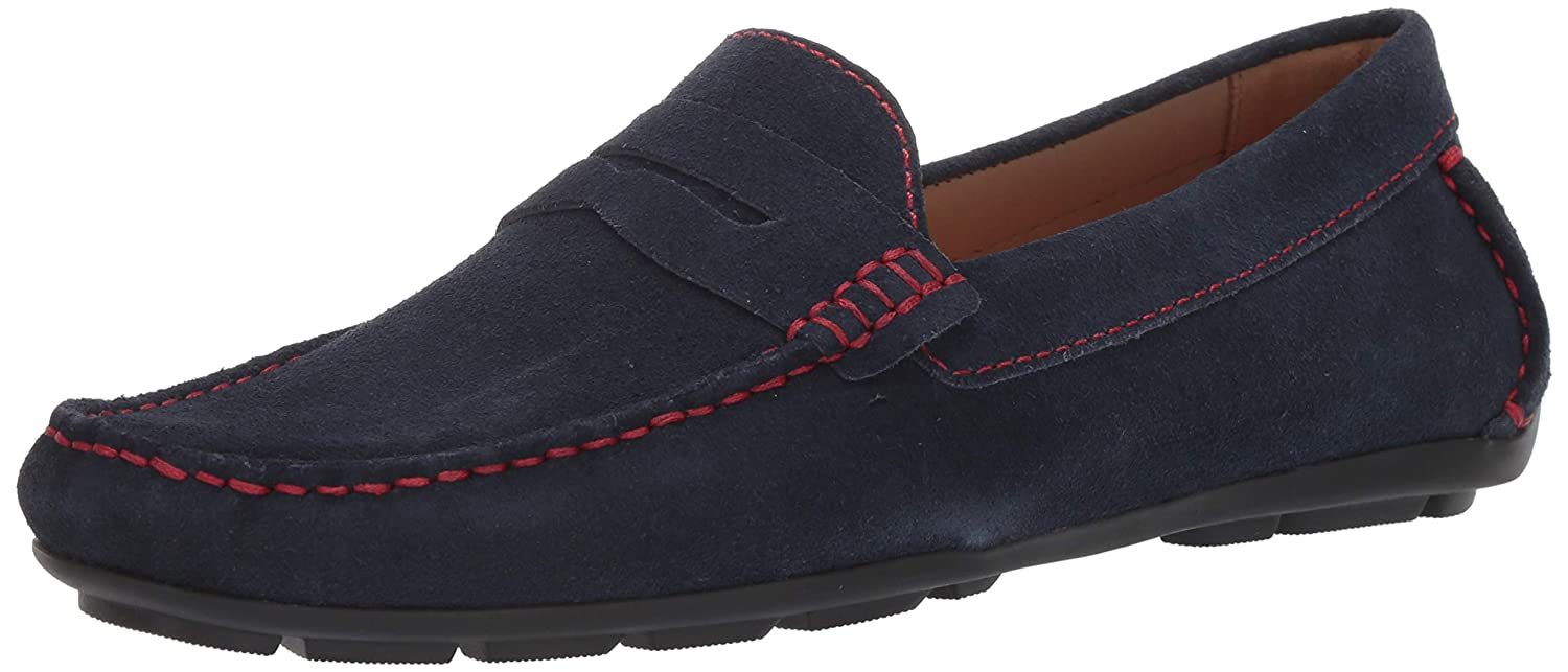 Navy Suede Red Stitch Driver Club USA Mens Mens Genuine Leather Made in Brazil Hollywood Loafer Loafer