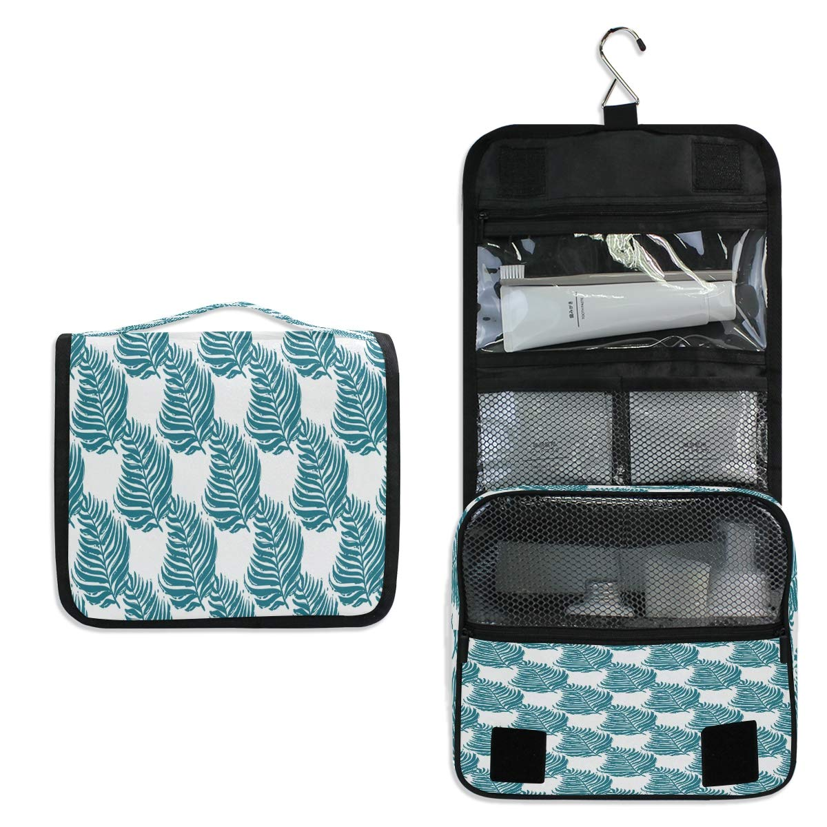 Hanging Toiletry Bag, Summer Seamless Palm Waterproof Quilted Wash Gargle Bag Portable Travel Bathroom Shower Bags Deluxe Large Makeup Brush Case Capacity Pouch for Men and Woman