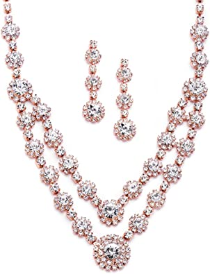 pink rhinestone set rose pink necklace and earrings set light pink bridesmaid jewelry pink bridal jewelry set pink prom necklace set