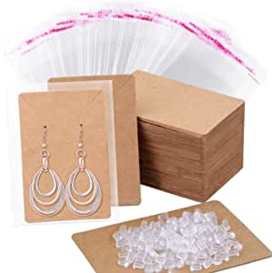 Anezus Earring Cards with Seal Bags Silicone Earring Back Earring Card Holder, Earring Display Cards for Ear Studs, Earrings, Kraft Color, 3.5 x 2 Inches
