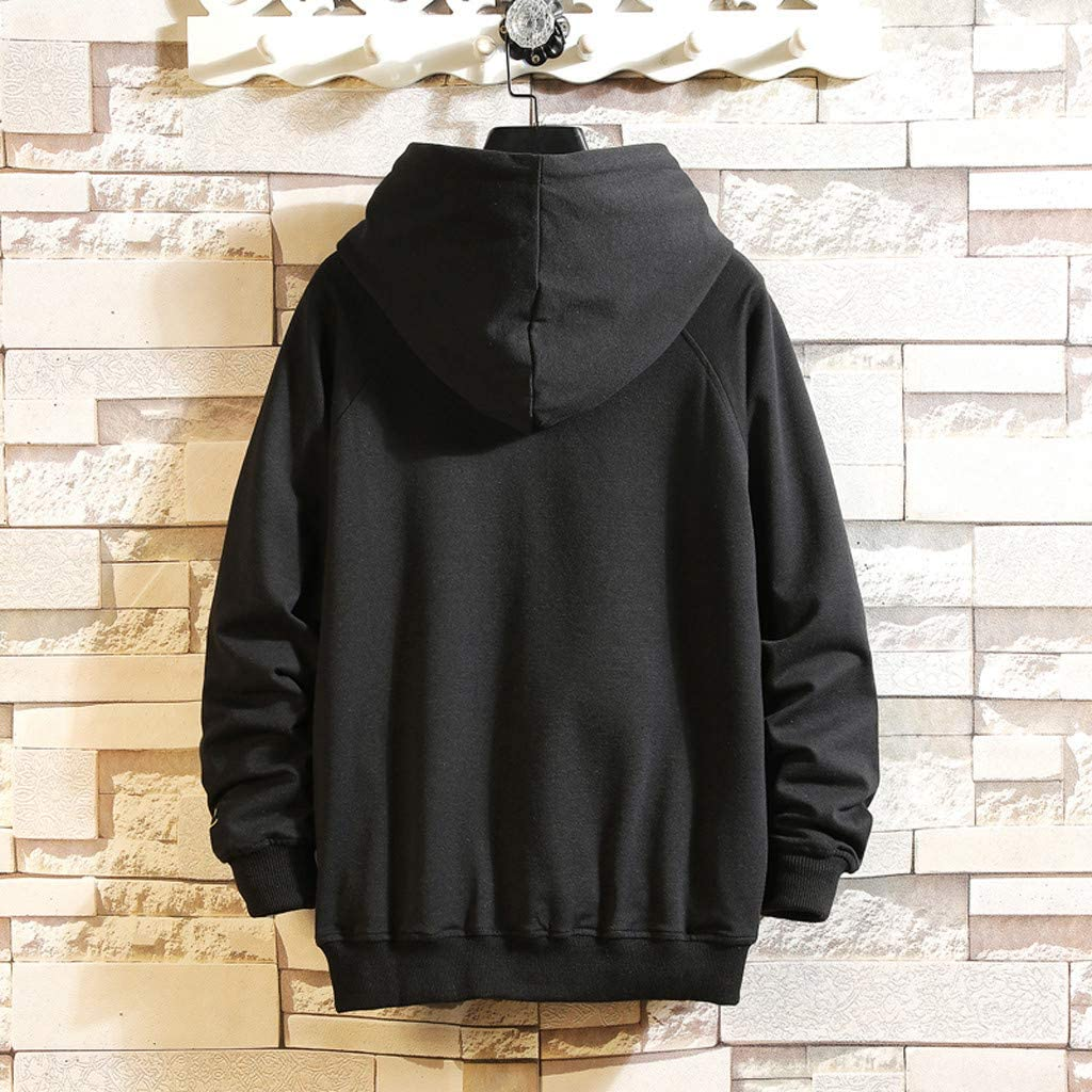 Landscap/_Men Casual Fashion Letter Printing Patchwork Hoodie Oversize Long Sleeves Hooded Sweatershirt