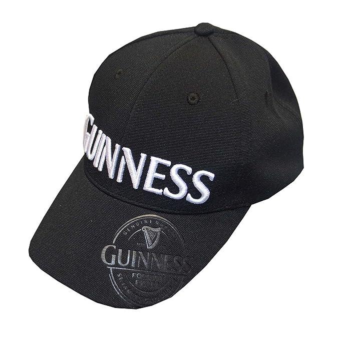 Guinness Gorra de béisbol de color negro con diseño en relieve ...
