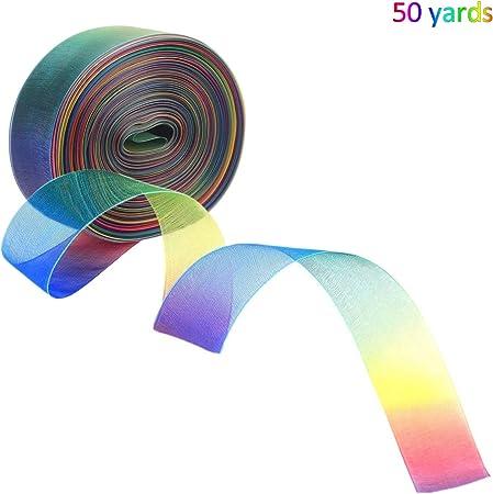 45,7 m x 2,5 cm nastro in organza trasparente con effetto arcobaleno dimensioni JamHooDirect