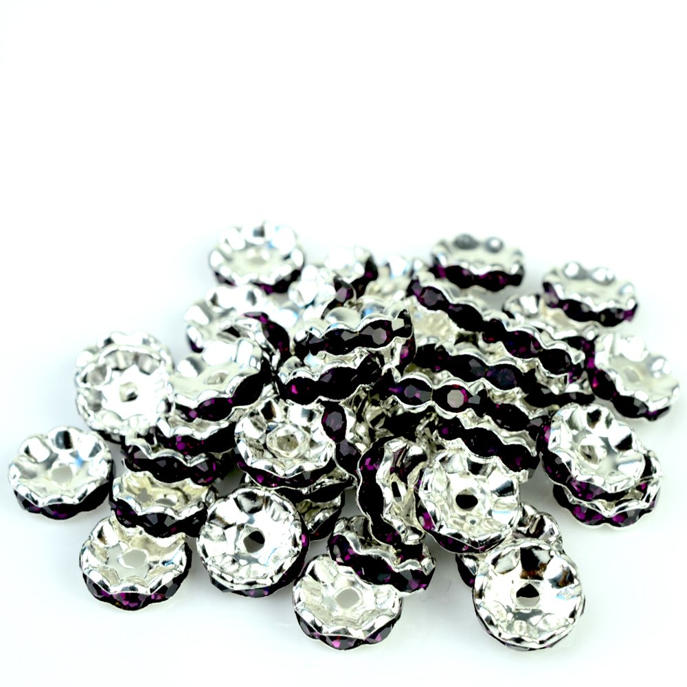 RUBYCA Top Quality 100pcs 10mm Wavy Rondelle Spacer Beads Silver Tone Purple Czech Crystal