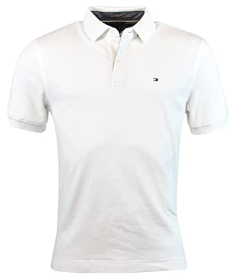 Tommy Hilfiger Mens Classic Fit Interlock Polo Shirt (White, Small)