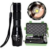 ustopfire LED Tac Flashlight, 2000 Lumen XM-L2 high lumens Handheld Flashlights with 5 Modes, Zoomable, Adjustable Focus, Water Resistant Flashlight Torch with Rechargeable 18650 Battery and Charger