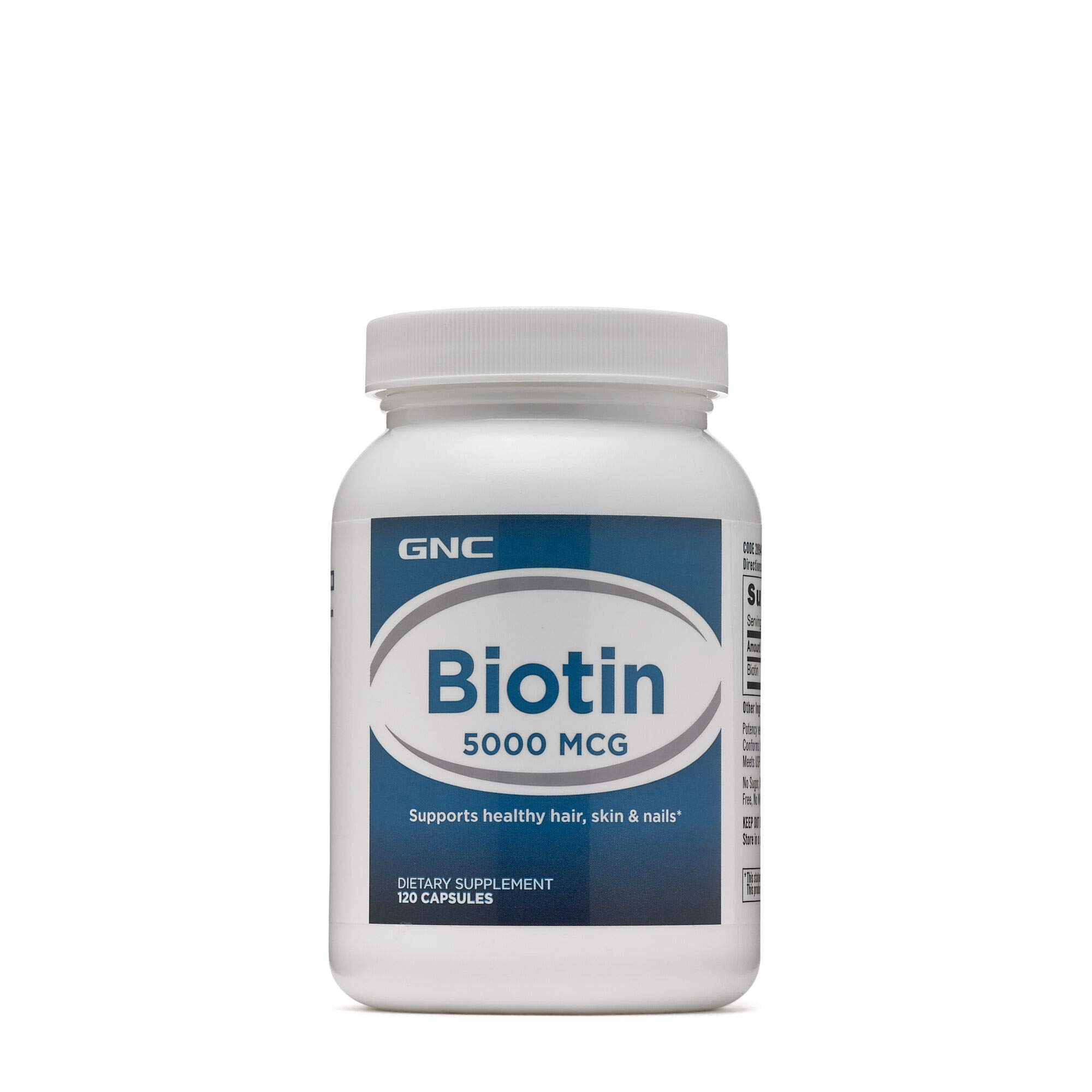 GNC Biotin 5000 MCG, 240 Capsules, Supports Healthy Hair, Skin and Nails by GNC