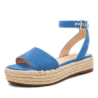 5a606c727c83 YDN Women Peep Toe Ankle Straps Wedge Sandals Low Heel Platform Pumps  Espadrille Shoes Blue 4
