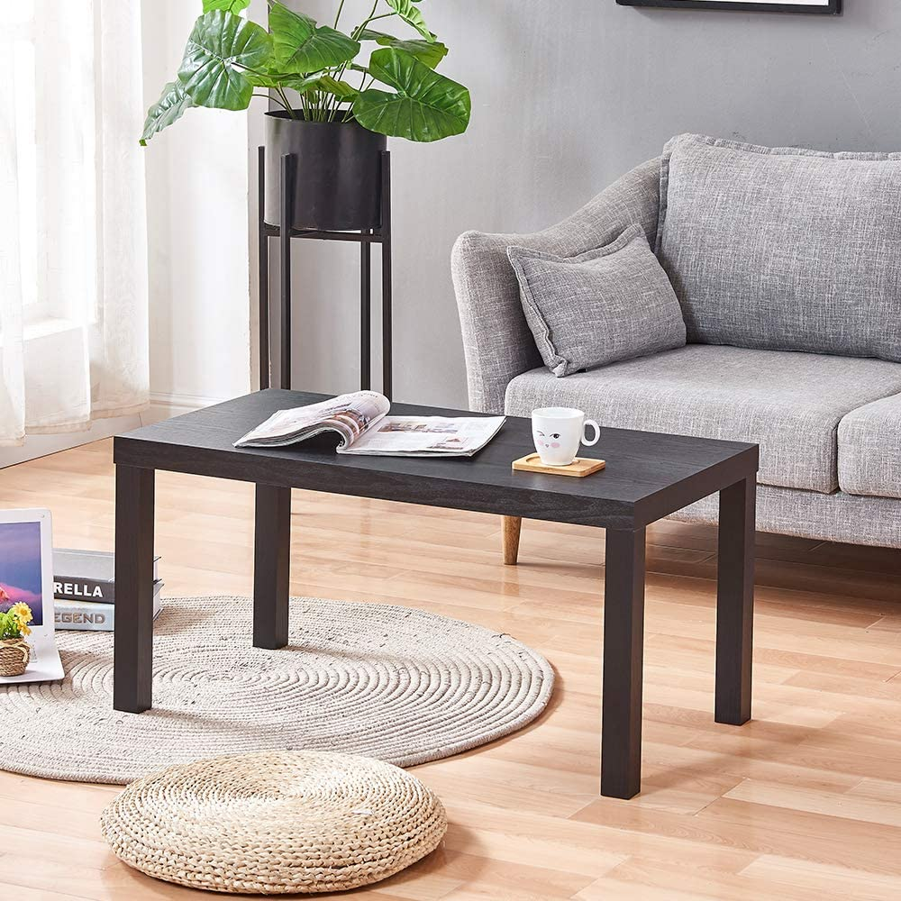 Qihang Uk Black Simple Coffee Table Living Room Center Table Rectangular Wood Table For Receiving Amazon Co Uk Kitchen Home