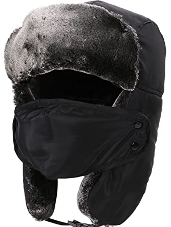 Russian Ushanka Hat Fur Hunting Hat w Chin Strap Ear Flaps and Face Mask 4972ee74dcd