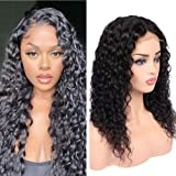 Water Wave Closure Wig Human Hair 16 inch Water Wave 4x4 Lace Front Wigs Brazilian Virgin Wet and Wavy Human Hair Wigs for Bl