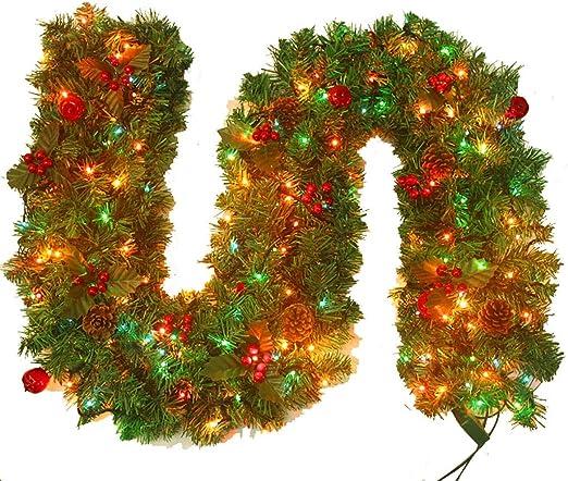 Corona de Navidad LED iluminado de 9 pies pre-encendido de la guirnalda de Navidad Luz