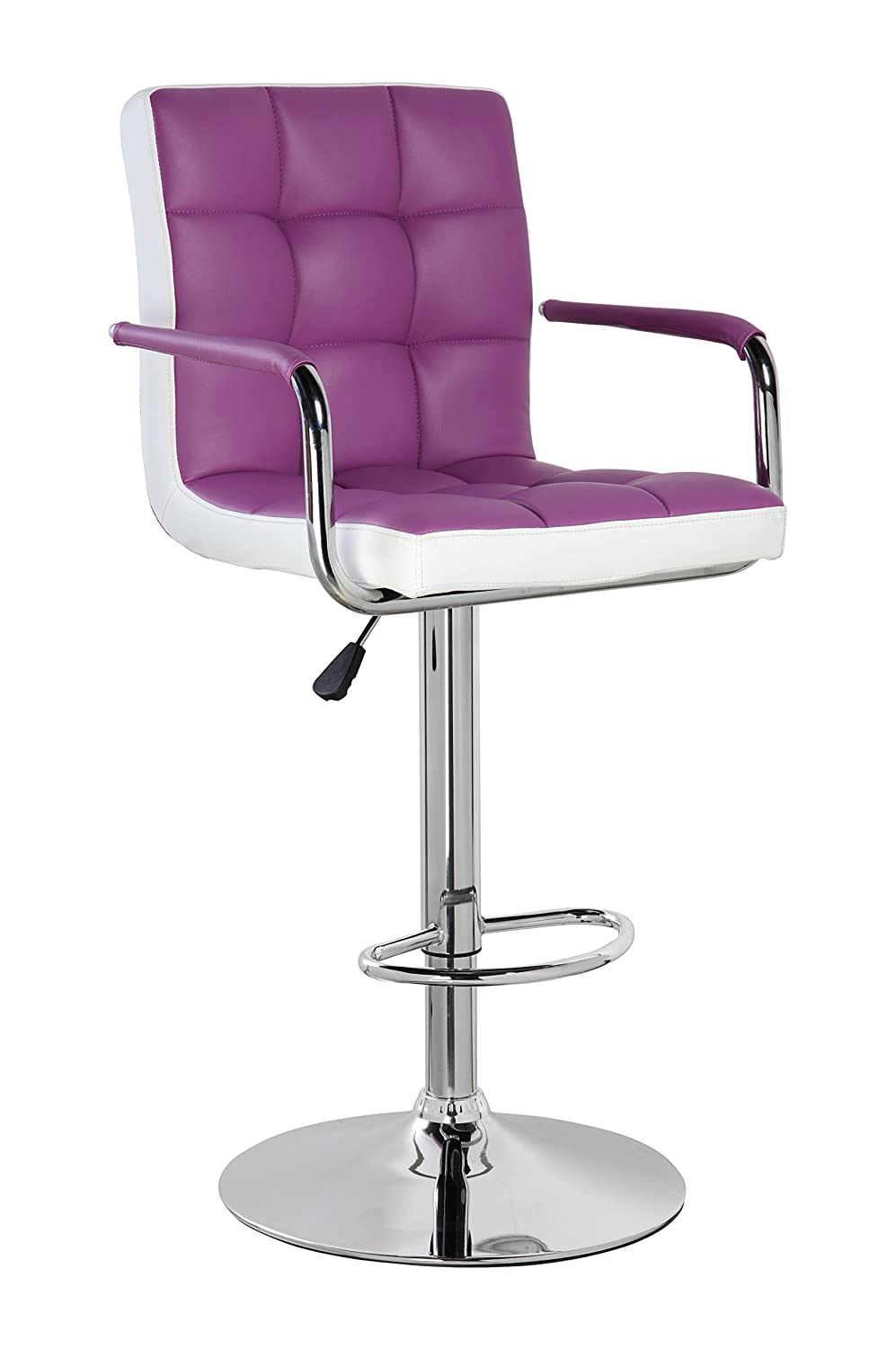 Mid back classic adjustable height bar stool Orchid Purple and Frost White