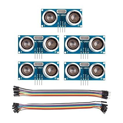 SunFounder 5 pcs Ultrasonic Module HC-SR04 Distance Sensor for Arduino UNO  MEGA R3 Mega2560 Duemilanove Nano Robot Rapsberry Pi 3 B+, 2 & RPi Model B+
