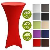 Beautissu Stretch Stehtisch-Husse Stella für Bistrotisch Ø 80-85 cm, elegante Stretch-Husse rot als Tisch-Überzug