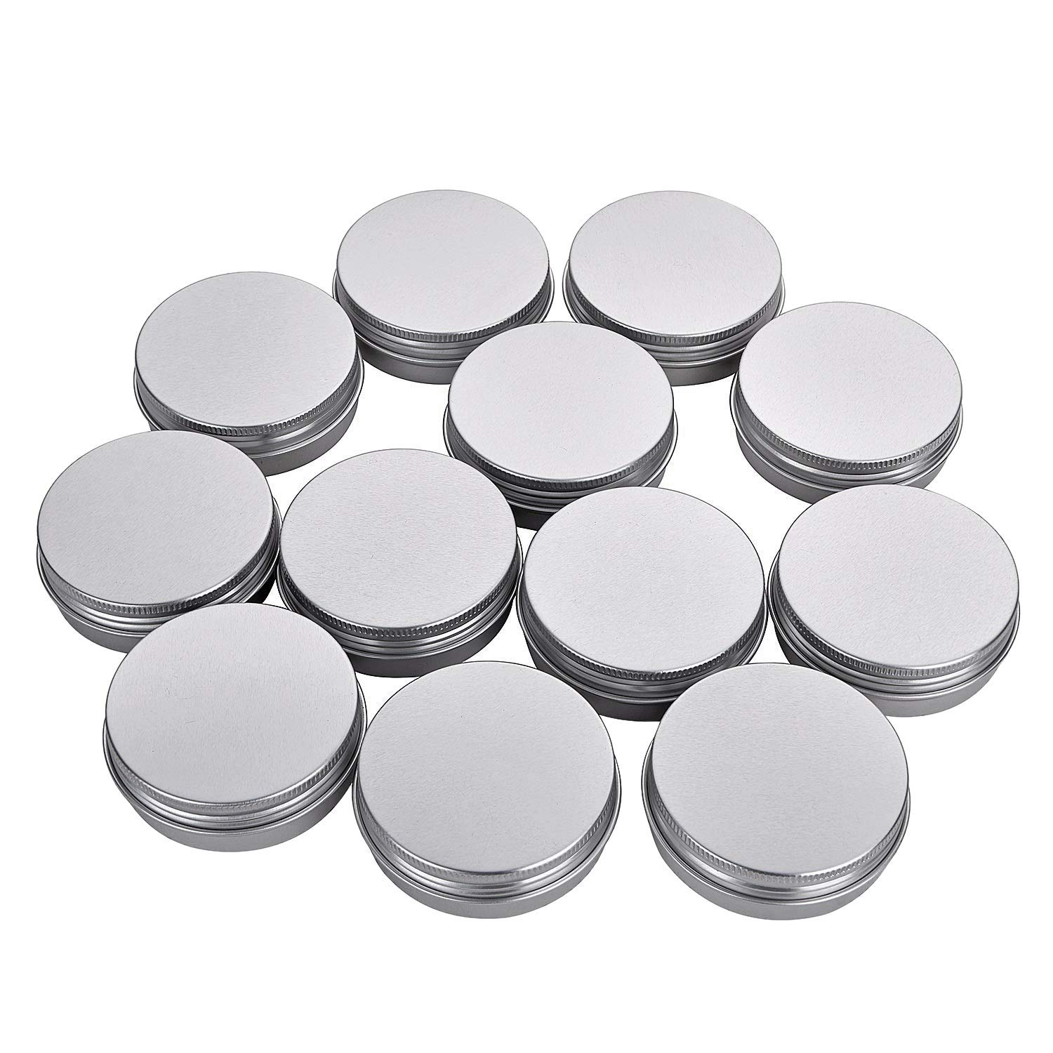 Fizz 2 Oz Aluminum Tins Cans 18 Pack Round Storage Jars Containers Screw Lids Metal Tins Travel Tins Cosmetic Refillable Containers(Silver)
