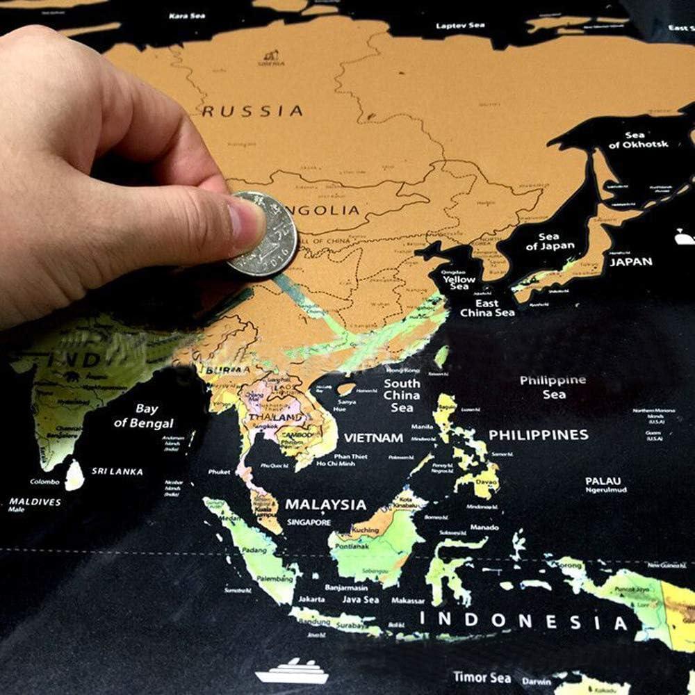 Scratch Off World Map Poster mit Landmarken und L/änderflaggen 82 x 59 cm