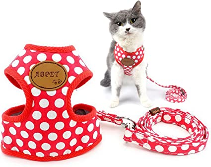 Small dog or  Cat harnesses Lead leash step in dog or Cat harness Pet Collar-Red