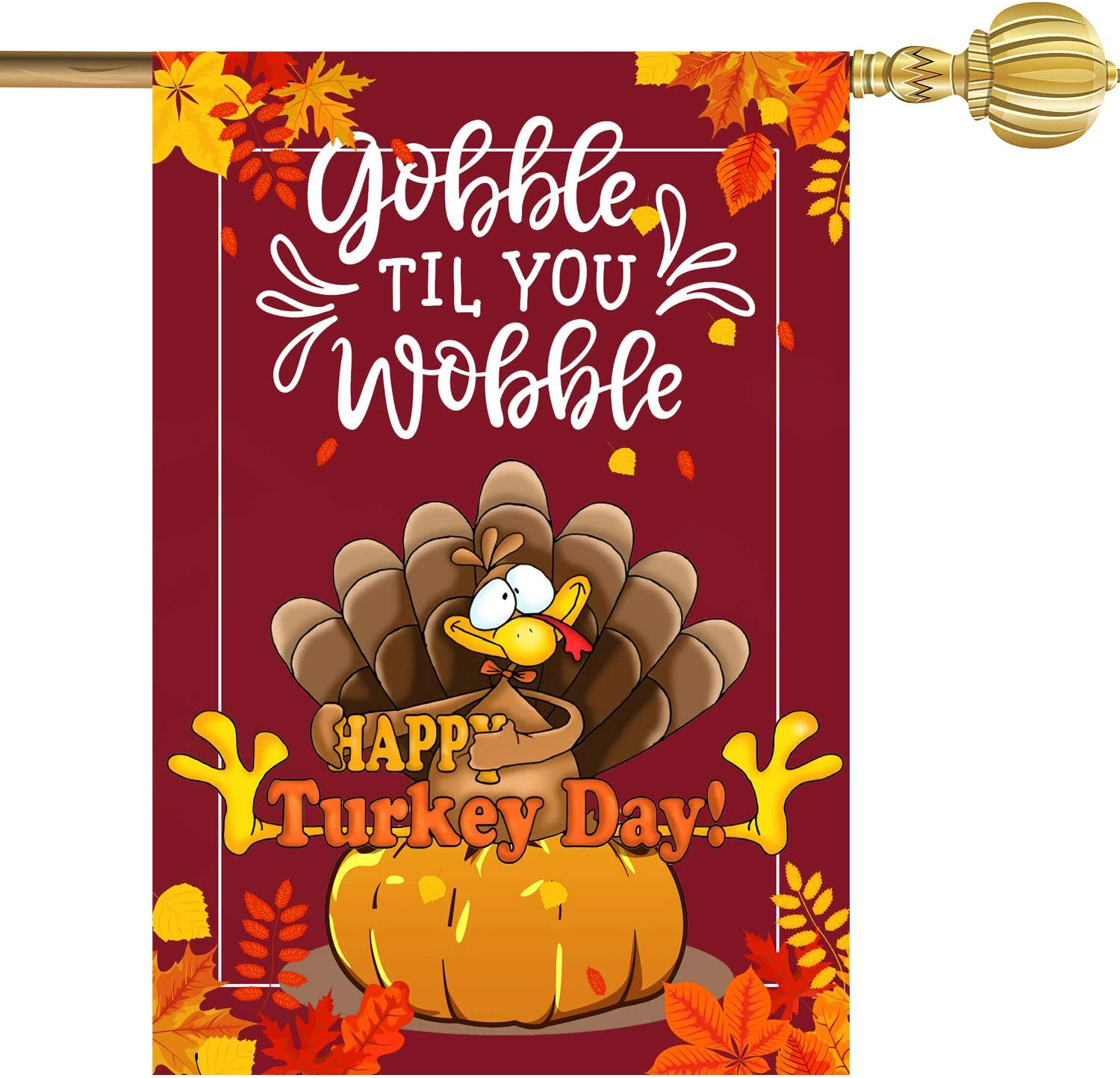 """Mocossmy Thanksgiving Garden Flags - 12.5"""" x 18"""" Happy Turkey Day Fall Harvest Garden Yard Flags Double Sided Turkey Pumpkin Maple Leaf Outdoor Yard Flags Decoration for November (1Pcs)"""