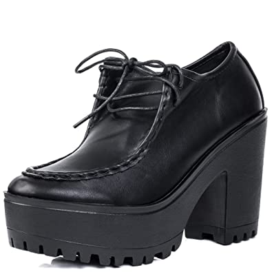 202ed4a4202 Amazon.com | Lace Up Block Heel Ankle Boots Pumps Black Leather Style Sz 10  | Boots