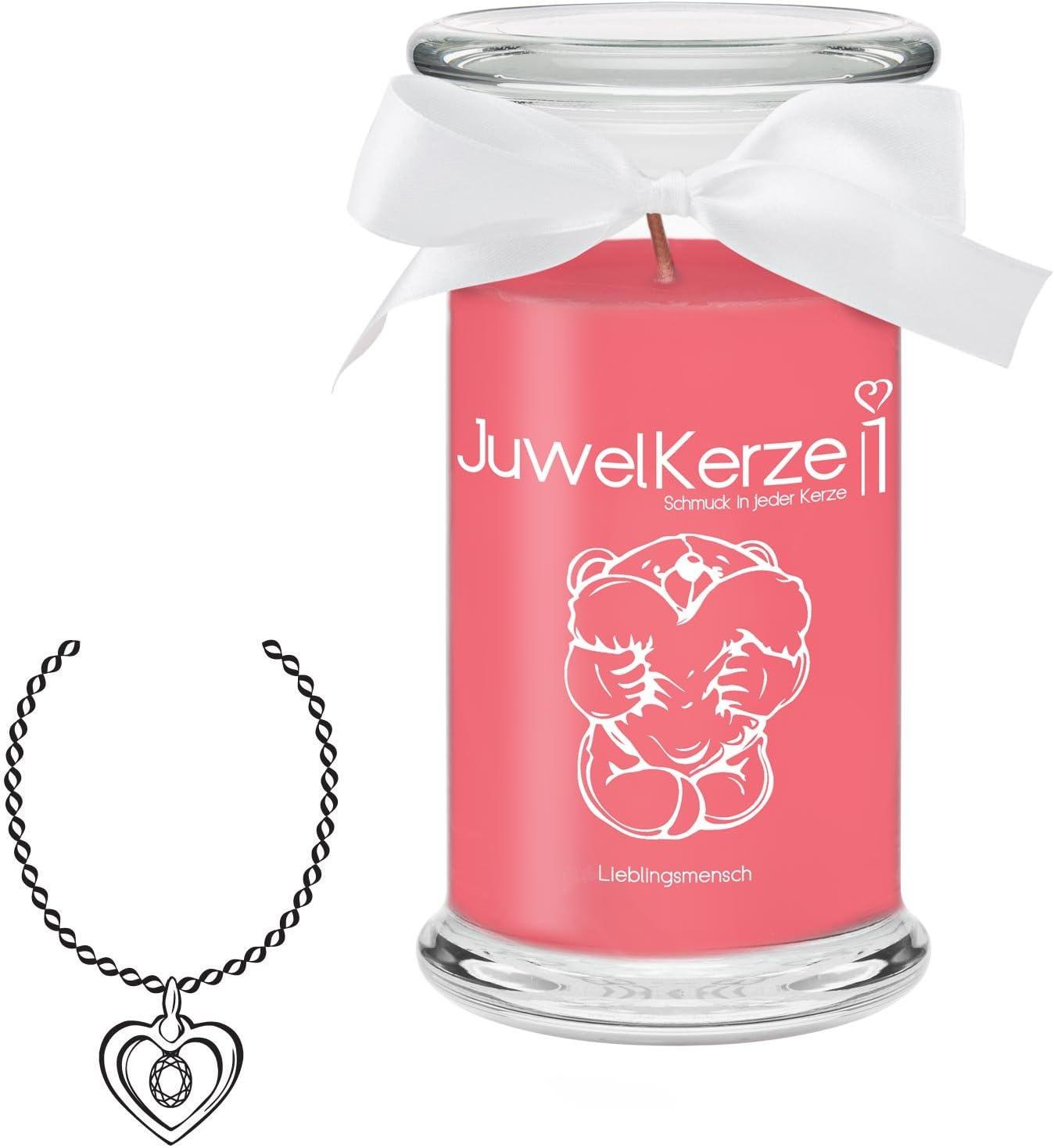 Kerze im Glas mit Schmuck Silber Armband, Brenndauer: 90-120 Stunden Gro/ße rote Duftkerze mit /Überraschung als Geschenk f/ür Sie JuwelKerze Ich Liebe Dich