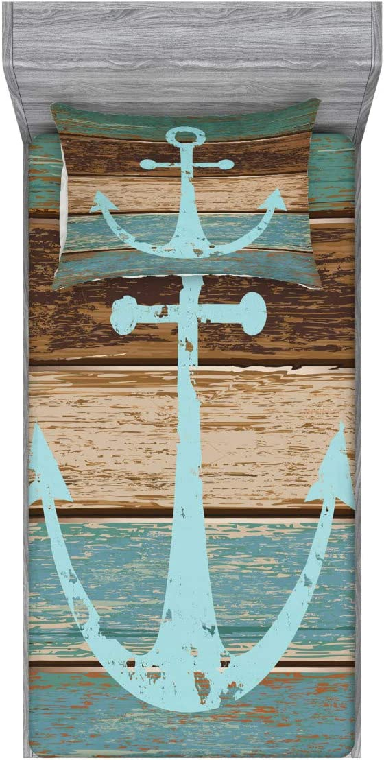 Ambesonne Anchor Fitted Sheet & Pillow Sham Set, Timeworn Marine on Weathered Wooden Planks Rustic Nautical Theme, Decorative Printed 2 Piece Bedding Decor Set, Twin, Teal Brown