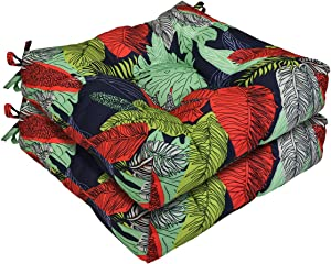 AAAAAcessories Outdoor Wicker Seat Chair Cushion Set of 2, 19 x 19 x 5 Inch, Green Leaves