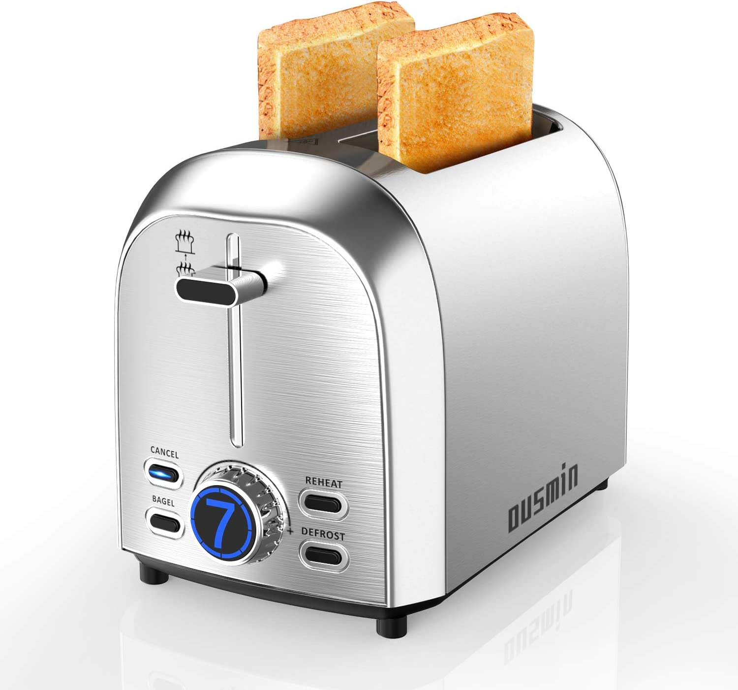 2 Slice Toaster LED Timer Display, OUSMIN 7 Shade Settings Stainless Steel Toaster with 1.5inch Wide Slot and BAGEL, DEFROST, CANCEL and REHEAT 4 Function, Removable Crumb Tray Compact Toaster