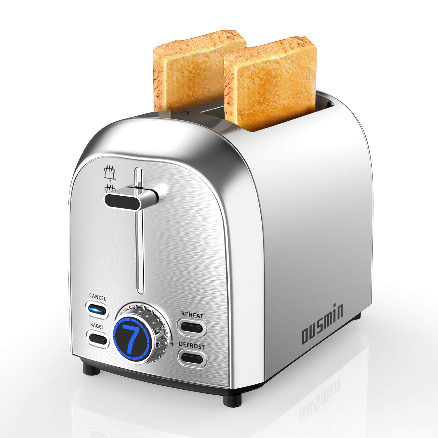 2 Slice Toaster LED Timer Display, OUSMIN 7 Shade Settings Stainless Steel Toaster with 1.5inch Wide Slot and BAGEL, DEFROST, CANCEL and REHEAT 4 Function, Removable Crumb Tray Compact Toaster by OUSMIN