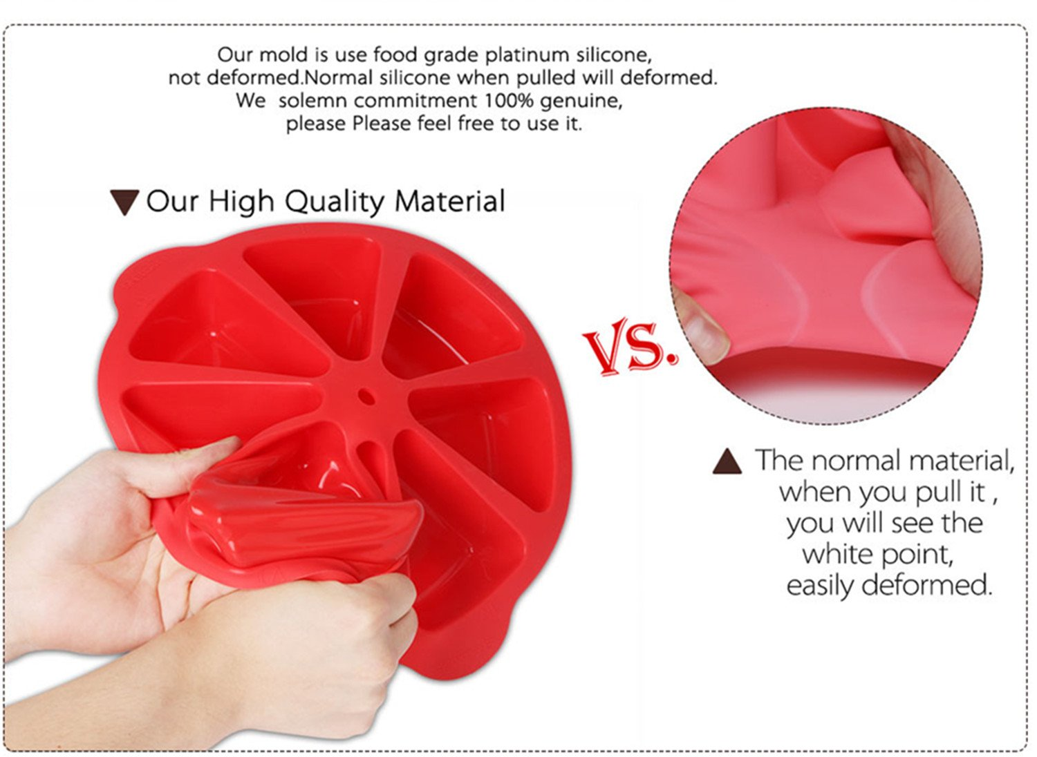 Baking Molds Triangle Cavity Silicone 8 Red Silicone Portion Cake Mold Soap Mould Pizza Slices Pan by SHEbaking (Image #4)