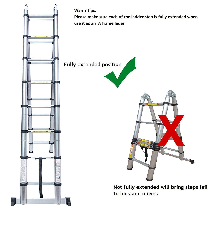 Rendio 5M Alu Teleskopleiter Klappleiter Ausziehleiter Mehrzweckleiter Anlegeleiter aus hochwertigem Alu Teleskop-Design 150 kg Belastbarkeit 8X8 Sprossen
