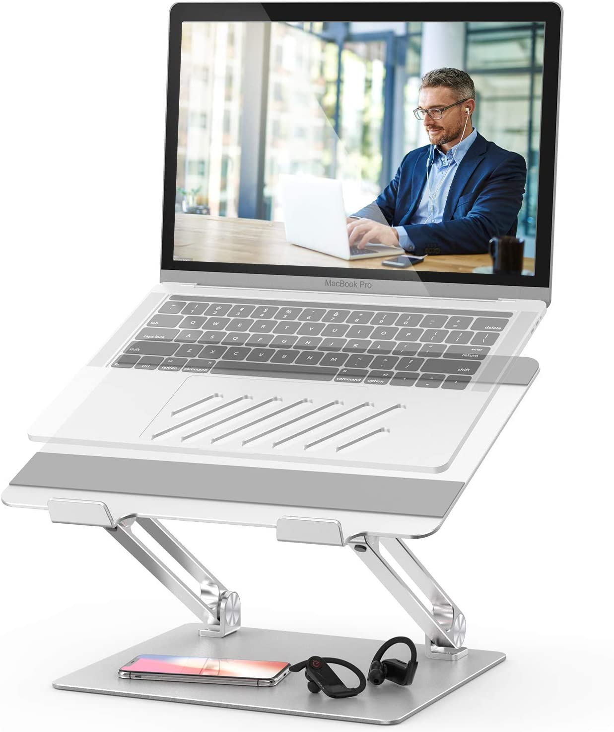 Laptop Stand, FYSMY Adjustable Aluminum Ergonomic Portable Notebook Stand Holder with Heat-Vent to Elevate Laptop, Computer Riser Compatible for MacBook,Dell,HP,Lenovo More 10-17