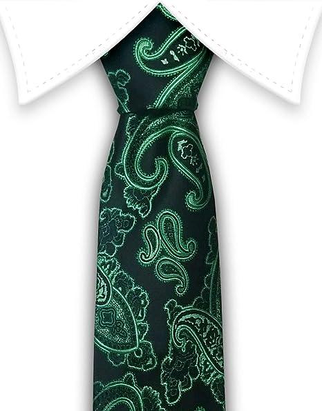 01e12552c11f D&T Black And Green Paisley Silk Tie Multicolored at Amazon Men's ...