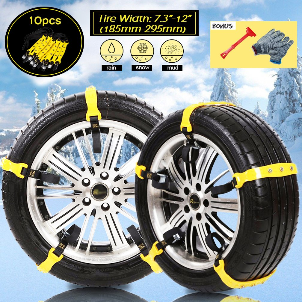 """[PATENTED CHAINS ]Anti-Skid Snow Chains Car Safety Chains, Emergency Traction Adjustable Chains Universal Anti Slip TIRE SNOW MUD Chains10pcs Car,SUV, Truck Width 7.3"""" -11.7"""" (185mm-295mm) (Yellow) VeMee"""